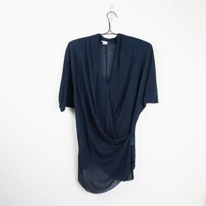 Helmut Lang navy dolman sleeve draped top